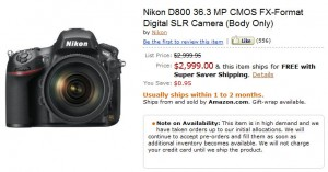 Amazon D800 Product Page
