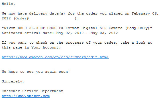 Nikon D800 Order Shipping Soon email