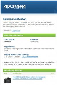 Adorama D800 order shipping